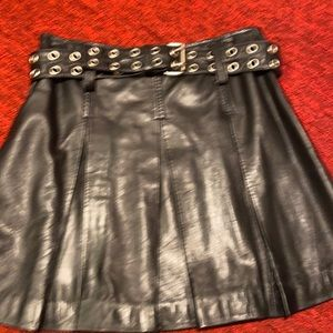 Black Leather pleated shirt skirt